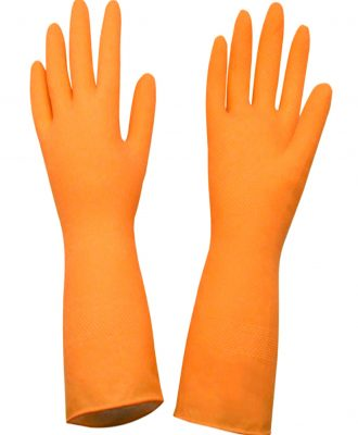 Luva latex natural flocada 7P Worker – Laranja