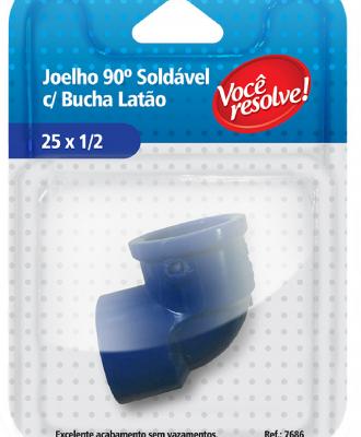 Joelho 90º Soldável com Bucha Latão – 25×1/2″